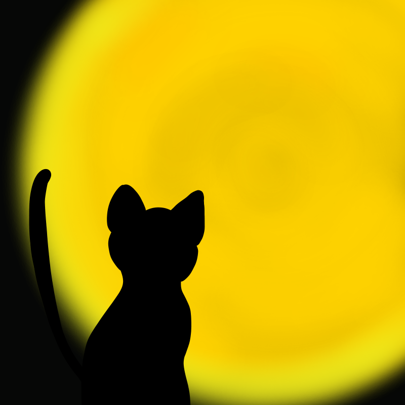 ハロウィン用、黒猫と満月のフリーイラスト