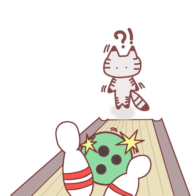 ボウリングをする猫